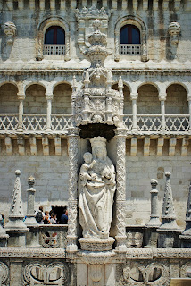 Portugalia, Lizbona, Belem, figura na Torre de Belem