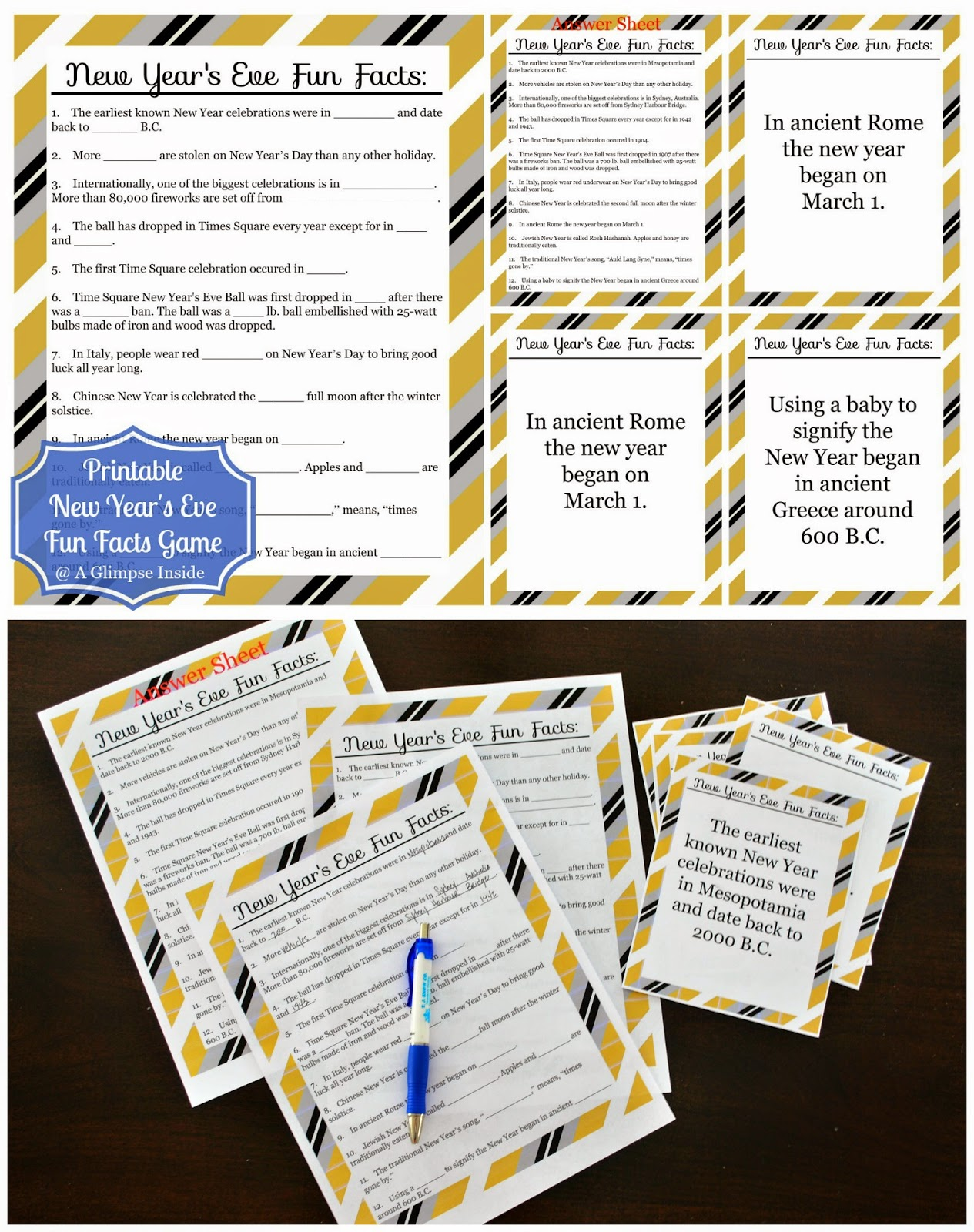 Printable New Year S Eve Fun Facts Game A Glimpse Inside