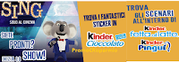 Logo Con Kinder Ferrero subito in omaggio Sticker e scenari ''Sing''