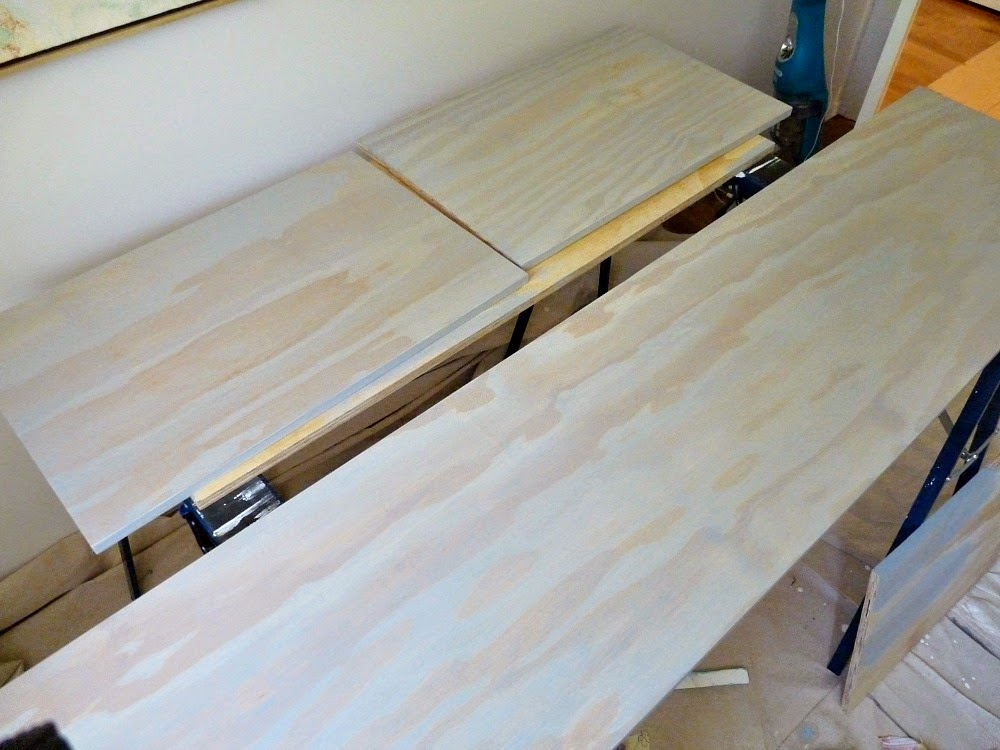 Grey stained plywood topped ikea hack // fauxdenza