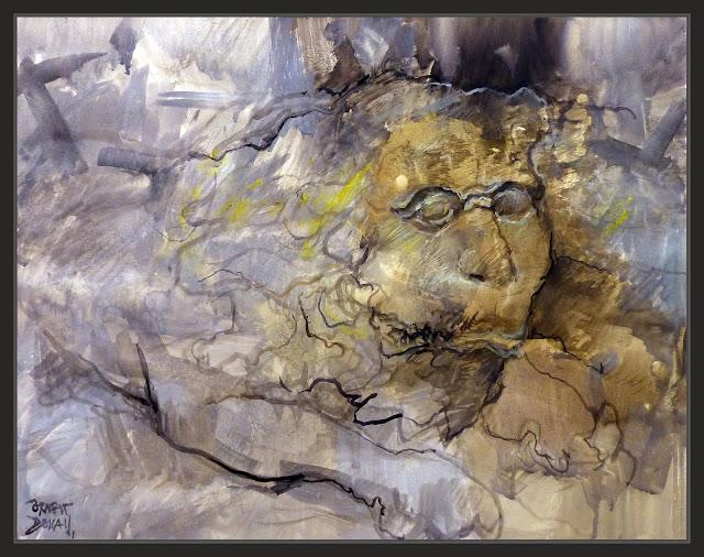 LLEONS-LA SEU-MANRESA-PINTURA-ART-GUARDIANS-TOMBES-LEONES-GUARDIANES-INTERIOR-BASILICA-ANIMALES-CATEDRALES-CATALUNYA-DETALLES-PINTURAS-ARTISTA-PINTOR-ERNEST DESCALS