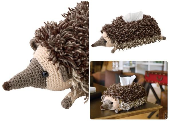 amigurimi crochet kleanex, erizo caja pañuelos crochet