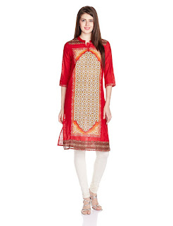 Aurelia Cotton Three Quarter Sleeve Banded Collar Red Kurta from Fashiondiya