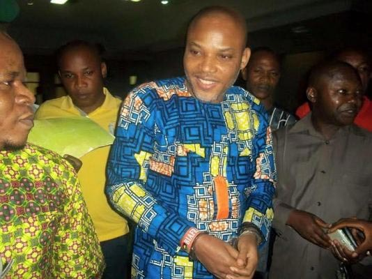 Photos: Nnamdi Kanu all smiles as he appears in court