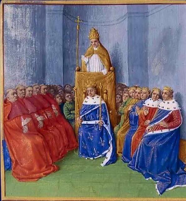 O Beato Urbano II pregando a Cruzada. Na sua direita, os bispos. Na esquerda, os príncipes, no centro, o rei.