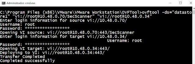 VMware: ESXi mover maquina virtual con ovftool
