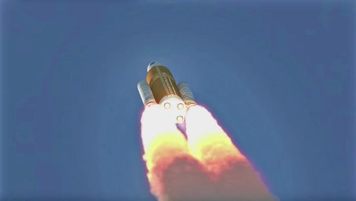 Tên lửa bắt đầu bay lên không gian mang theo con tàu vào vũ trụ. Đồ họa: NASA.