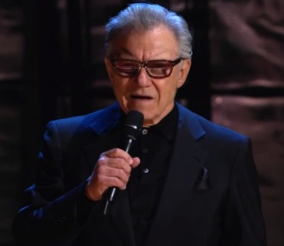 Harvey Keitel with a microphone
