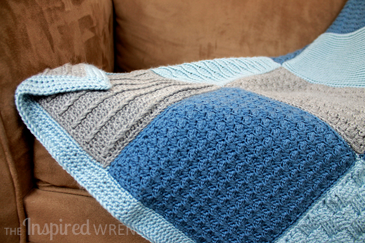 Love the half-double crochet afghan border -- simple, clean, and contemporary. | Crochet Along Afghan Sampler from The Inspired Wren