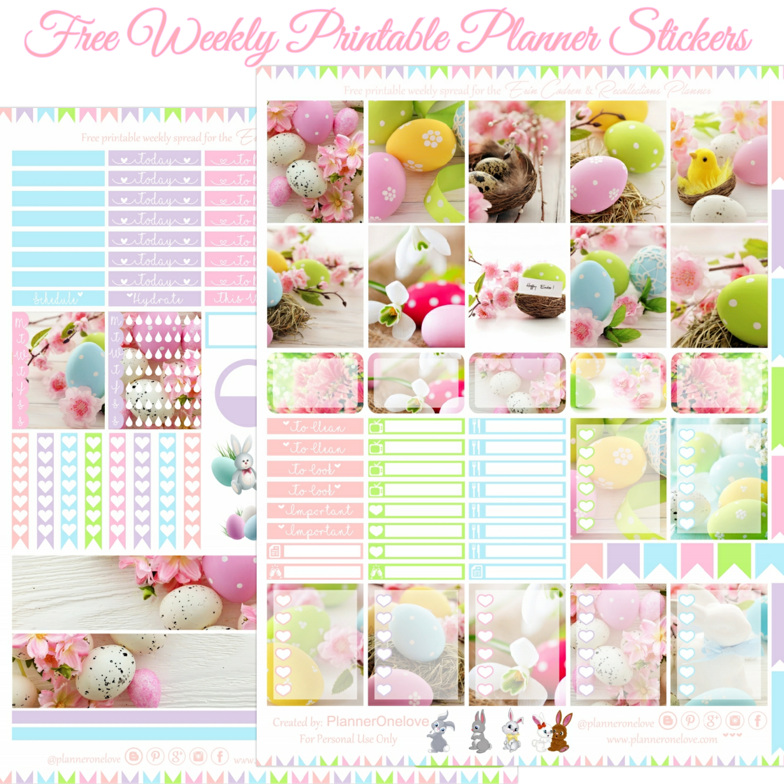 Free Happy Easter Printable Planner Stickers For The Erin Condren Recollections Planner Planner Onelove
