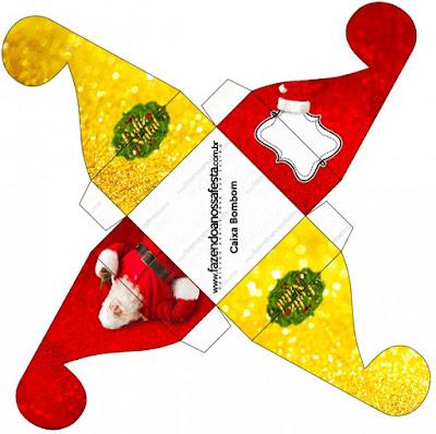 Caja para cupcakes, chocoltes o golosinas de Santa Claus en Rojo y Dorado.