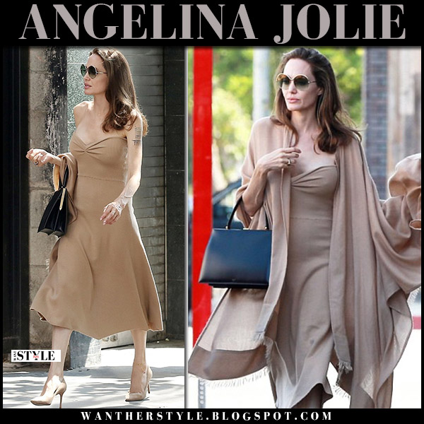 Angelina Jolie in camel strapless midi dress ryan roche street style august 26