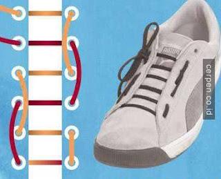 Cara Memasang Tali Sepatu Lurus Berpita