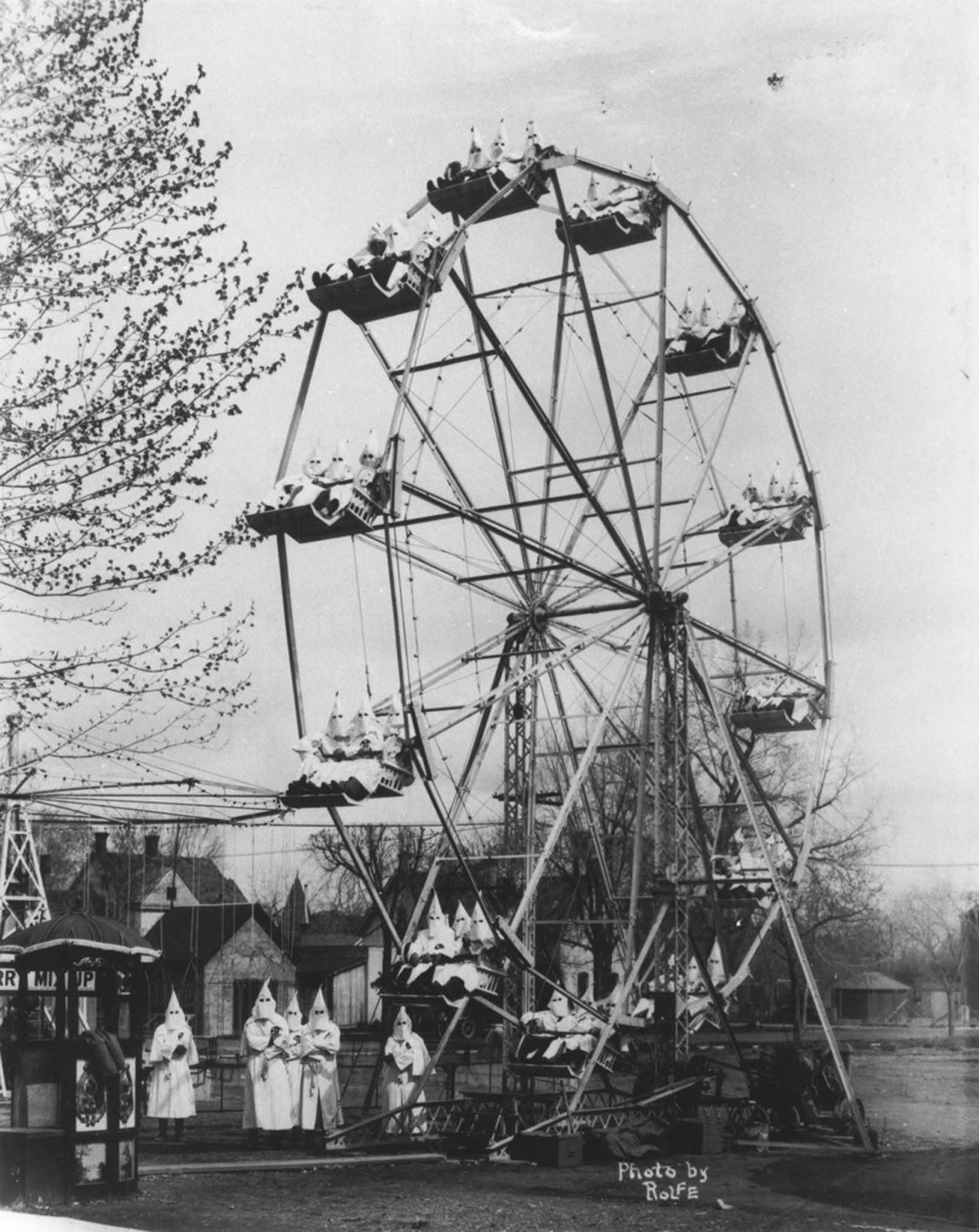 Ku Klux Klan on a ferris wheel, 1926.