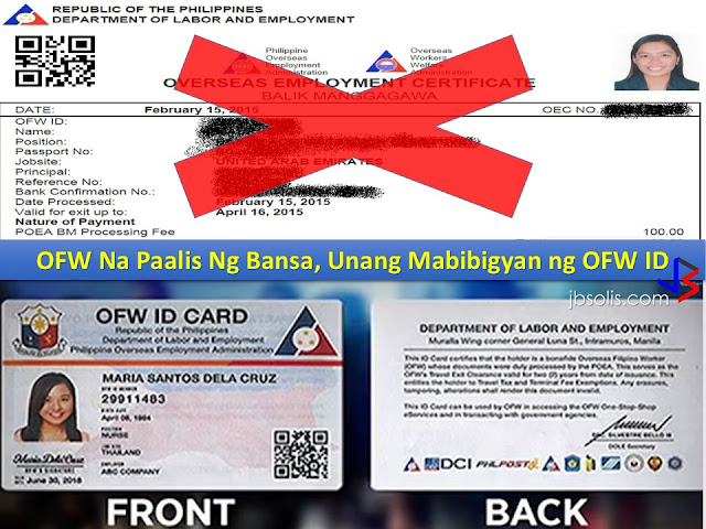 "The day Rodrigo Roa Duterte took his oath of office as the 16th President of the Philippines, he made it clear that his government will do everything possible to provide comfort and ease to the hundreds of thousands of Overseas Filipino Workers (OFWs) in processing their documents, as well as during they stay at the airport on departure or arrival from their host countries.  Many of his promises were already being enjoyed by the OFWs. He has removed the Terminal Fee Integration on OFW tickets. The airports have become welcoming again. ""Tanim-Bala"" is a thing of the past. And a lot of other projects are on their way as well - including the OFW Bank and the OFW Hospital. But perhaps the best among these promises is the the OFW ID.  Introduced as iDole, the OFW ID is the answer to the age old problems of the OEC (Overseas Employment Certificate), a document as important, yet perhaps as hated by the OFWs for the many suffering they have experienced every time the have to get that piece of paper. The OEC served as a proof of the OFW being, what else, an OFW.  ""Initially we will be issuing iDOLE to those who are just going out of the country, then as we go on, we will be also issuing to those who are already abroad,"" Undersecretary Dominador Say said. The government will set up an online application and payment system for the card. ""The ID will be issued free to OFWs, but their employers will be required to shoulder the cost,"" according to the Undersecretary.     The Department of Labor and Employment (DOLE) will present the ID today, 12th of July, to President Duterte. As soon as the President approves of the design, as well as the guidelines and implementing rules, the production will start before this month ends.  What are the benefits of OFW ID or iDOLE? There's no need to apply for your iDole or OFW ID. All certified OFWs who are listed at the POEA database will receive their very own IDs. The OFW ID is free. There will be no fees to be collected from OFWs. The ID card can be used as a beep card when taking MRT or LRT rides. The card will also serve as a debit or credit card for the OFW Bank that will be opening soon. The OFW ID is a valid and official ID that will be accepted for any government or private transactions. (SSS, Philhealth and Pag-Ibig). The ID will be exclusive to OFWs - both current and former. All benefits accompanying are for the OFW alone. The OFW ID will replace the OEC. It does not have to be renewed each time an OFW goes on vacation. In the future, it will serve as an e-passport for OFWs. The iDOLE or OFW ID will be delivered to the address as per advised by the POEA. A list will be published by the POEA, and the embassies and consulates abroad, to which an OFW may revise his or her address.  Since departing OFWs will be prioritized in the issuance of the iDOLE, they should make sure that their address abroad as registered with the POEA is correct or updated at the POEA website. The POEA will print the OFW ID and it will be delivered to their addresses. If they have the means, OFWs may also claim their ID at the nearest Overseas Labor Office.  An estimated six million OFWs are expected to receive the OFW ID. While the most number of Filipinos are in the US, many of them have taken US Citizenship, which may disqualify them from receiving the IDs. The largest number of OFWs are actually in the Middle East."