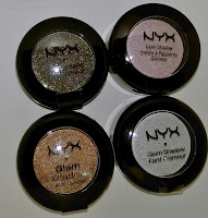 NYX Glam Shadow swatches Wedding Cake Boost Midnight Fairy Golden