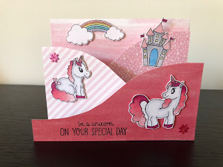 Pink Unicorn Foldout Card standing