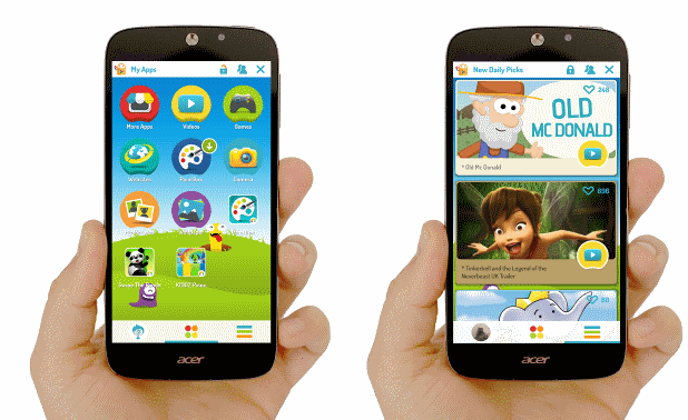Tampilan Fitur Kids Center di Smartphone Acer Liquid Z320