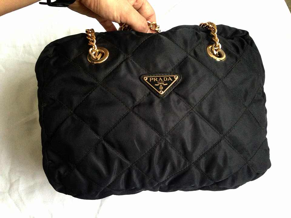 50195305af232d Truly Vintage: Authentic Prada Quilted Tessuto Nylon Chain Shoulder Bag