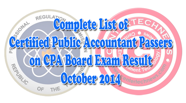Complete List of Certified Public Accountant Passers on CPA Board Exam Result October 2014
