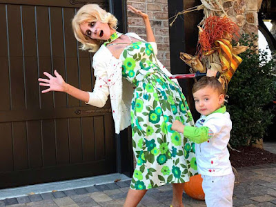 "Kyle Busch's wife Samantha and son Brexton celebrated Halloween as Norma and Norman Bates from the TV show ""Bates Motel."""