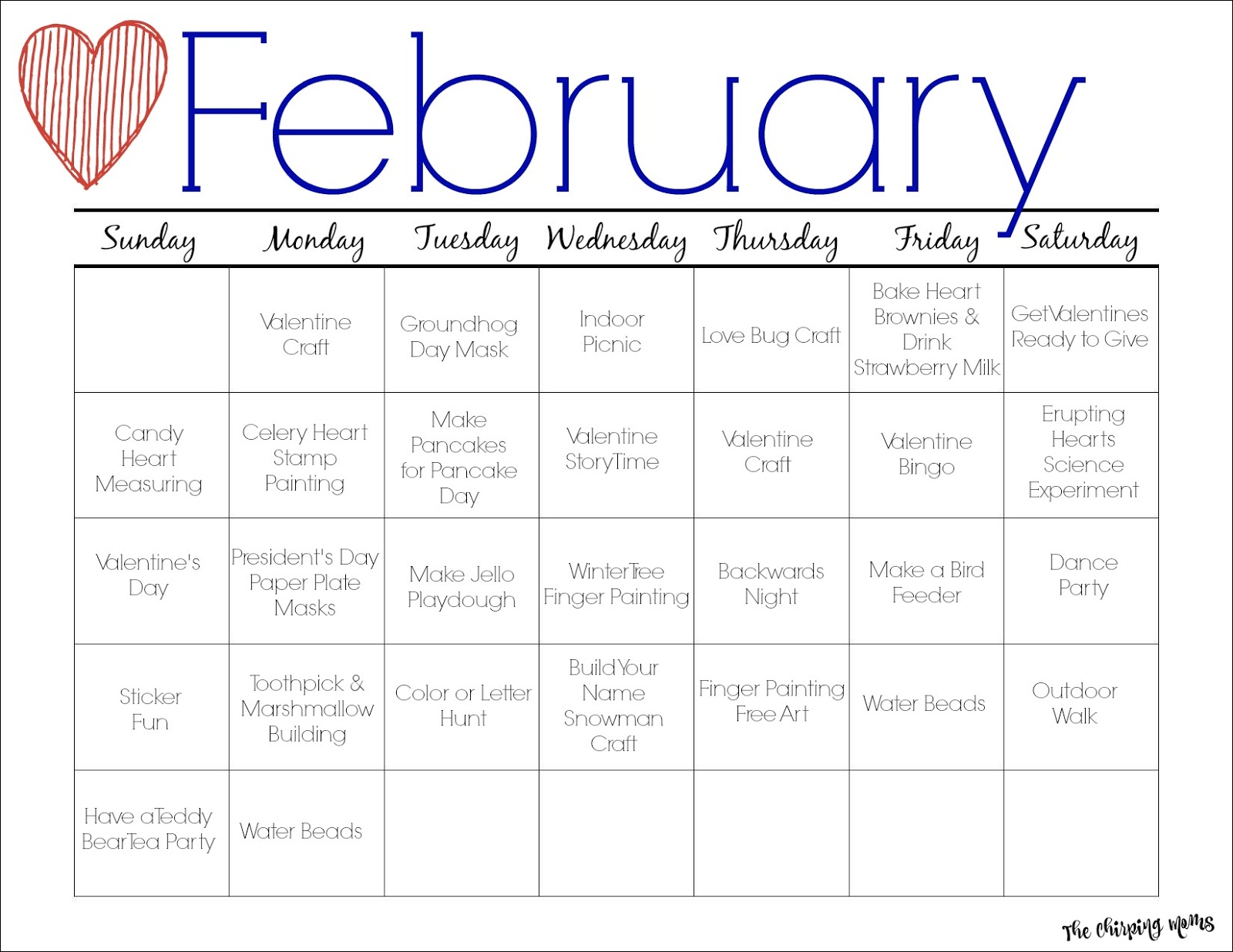 February Printable Activity Calendar For Kids