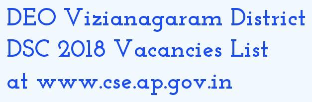 DEO VIZIANAGARAM DSC 2018 Vacancies List at vizianagaram.nic.in