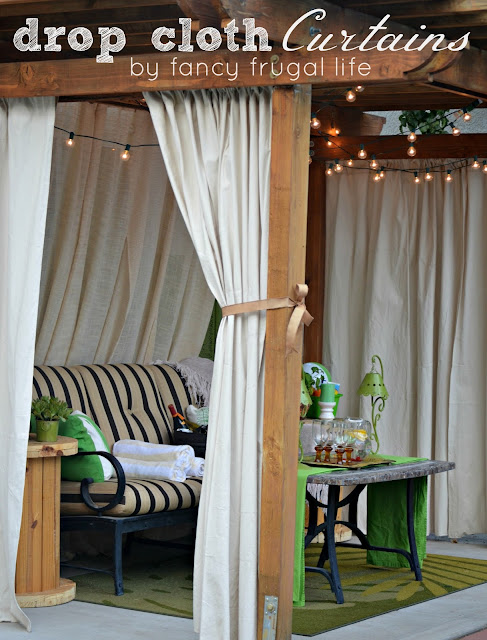 drop cloth drapes outside