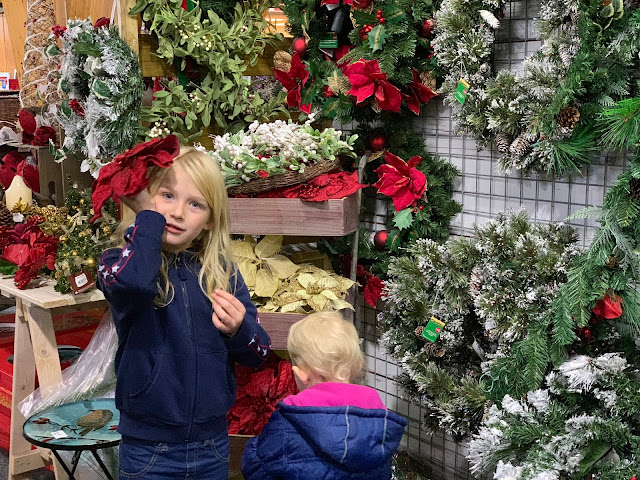 Looking at Christmas Decorations in Wyevale Garden Centre Braintree