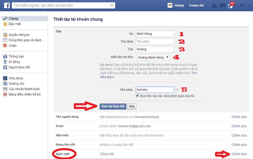 đổi tên facebook 2
