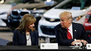 Mary Barra, CEO of General Motors, talks with President Trump at a press event in Ypsilanti Township, Michigan in March 2017. (Credit: Reuters/Jonathan Ernst) Click to Enlarge.