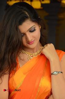 Actress Akishitha Pictures in Saree at Prayanam Movie Opening  0004.JPG