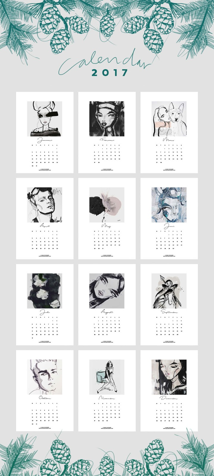 download, free, calendar, calendario 2017, sara woodrow, artsy