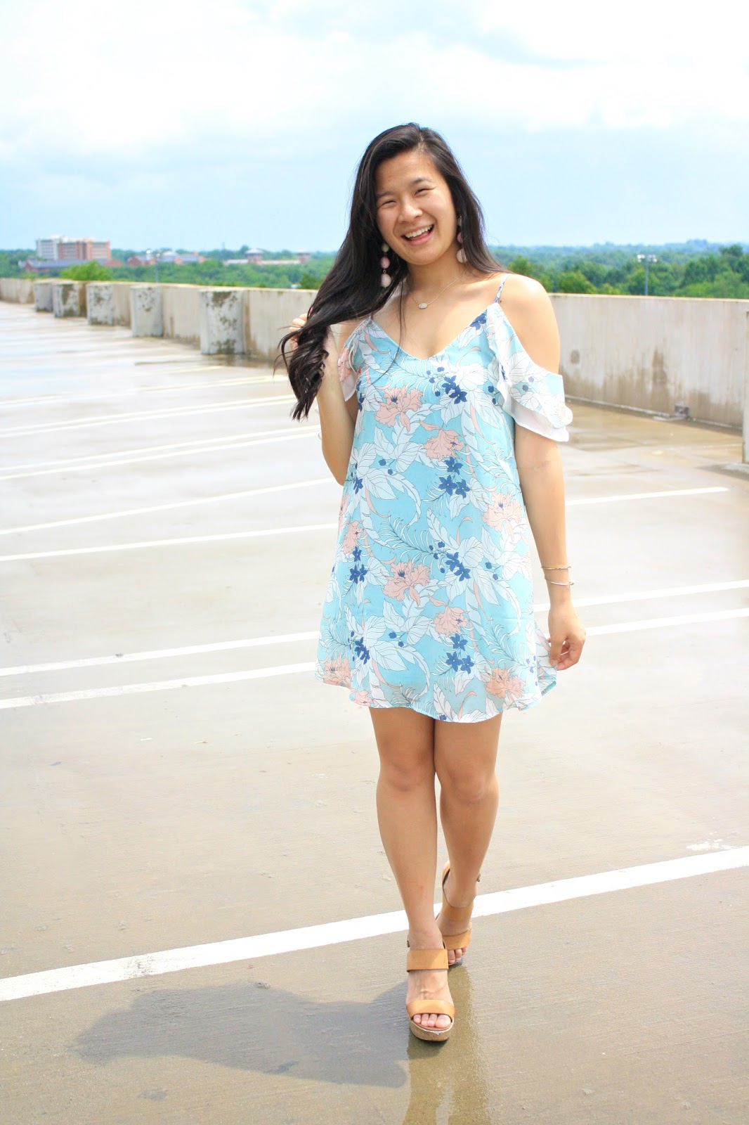 Spring pastel floral cold shoulder dress