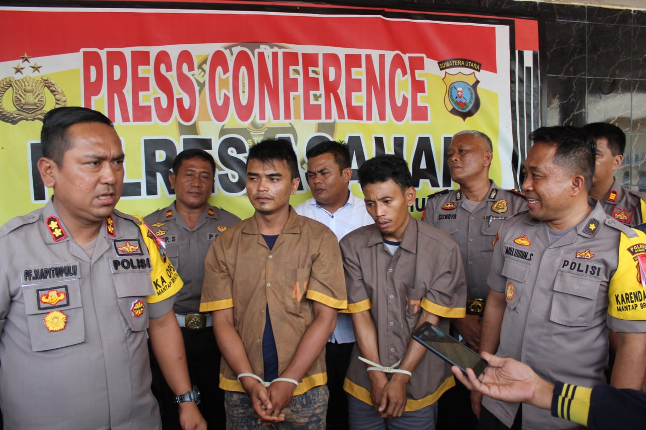 Kapolres Asahan AKBP Faisal Napitupulu menggelar temu pers.