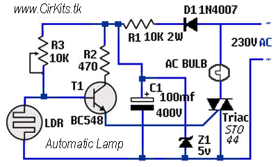 dark activated lamp using triac everyday electronics. Black Bedroom Furniture Sets. Home Design Ideas