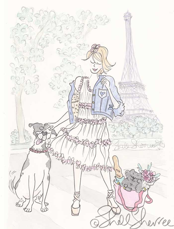 Paris Fashion and Fluffballs illustration: Spotty Dog Pats and Impatient Cat by Eiffel Tower © Shell Sherree