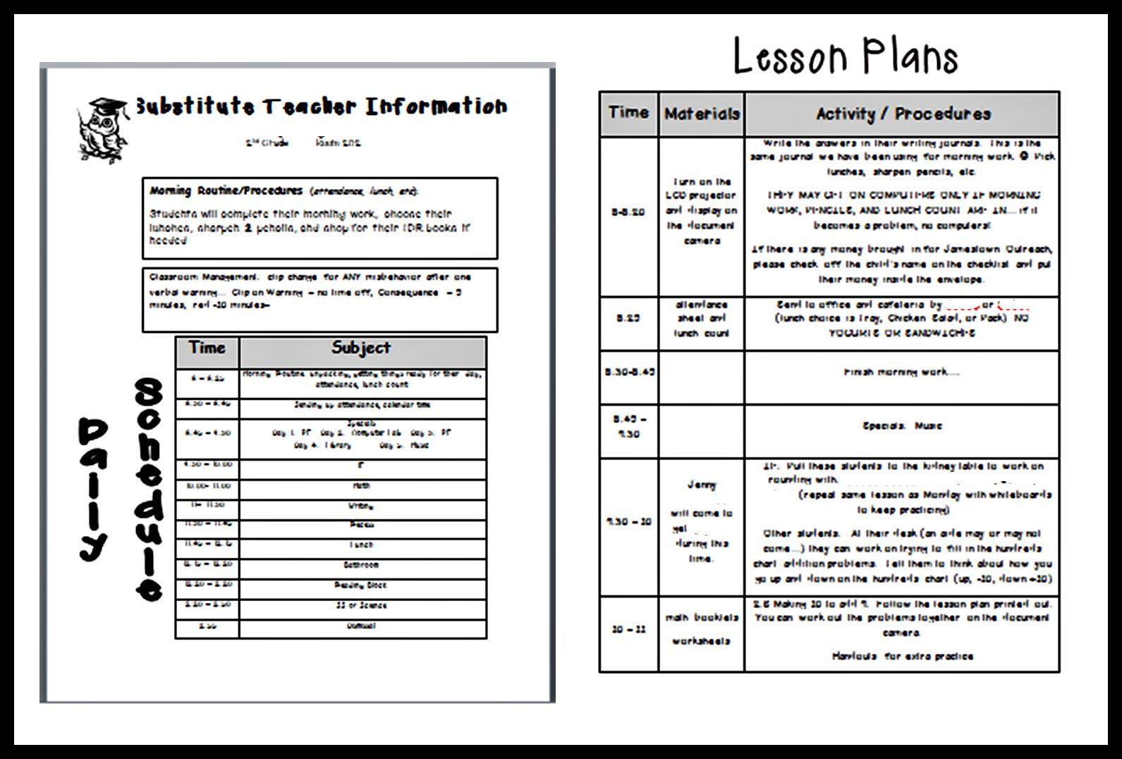 Sub Plan Template | Sample Customer Service Resume