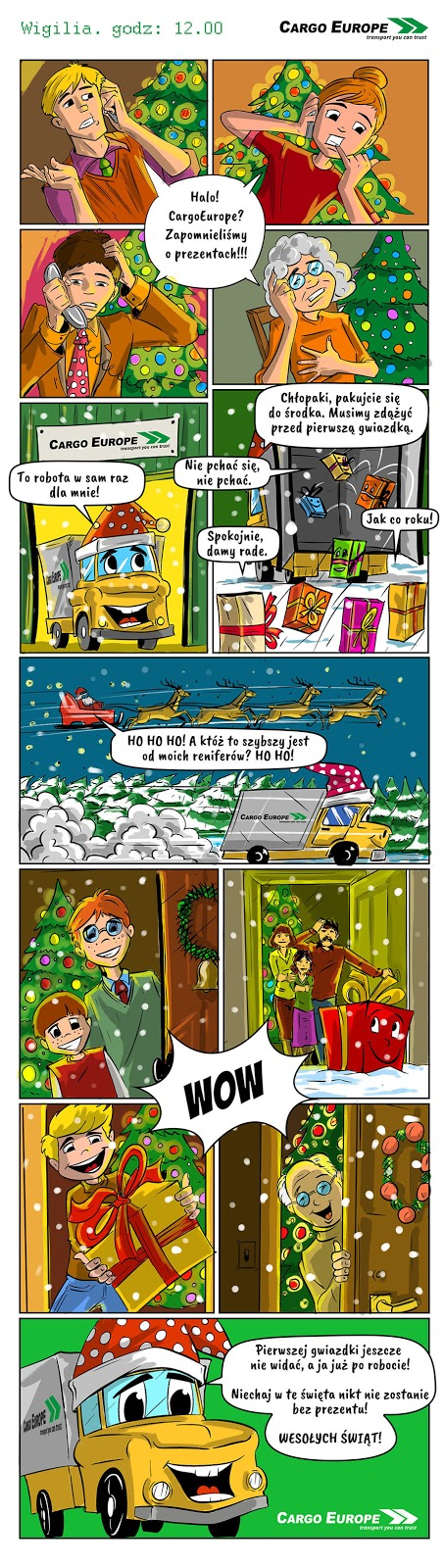 Rysunkowy komiks ze scenariuszem do mailngu