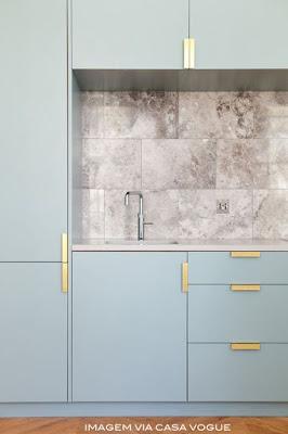 armário de cozinha azul e dourado