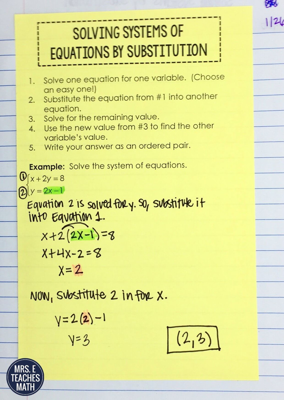 Systems of Equations INB Pages | Mrs  E Teaches Math