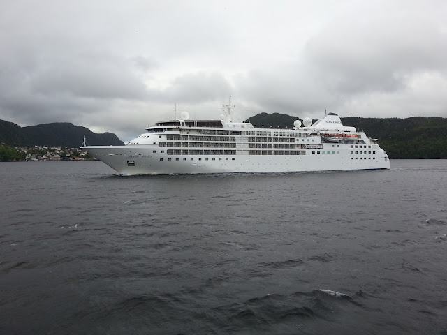 Luxury cruise ship Silver Wind in Bergen, Norway; Silversea; Fjord cruise