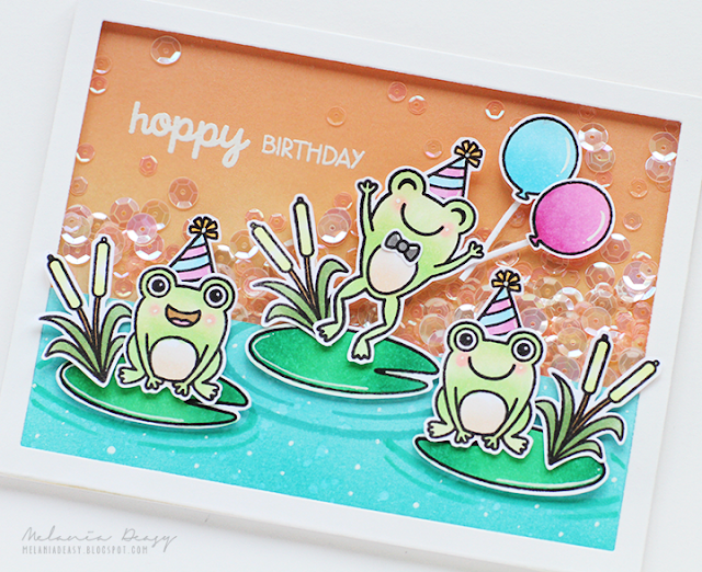 Sunny Studio Stamps: Froggy Friends Frog Shaker Birthday Card by Melania Deasy