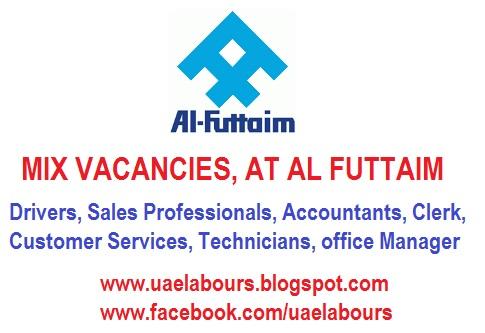 JOBS IN UAE, MIX JOB IN UAE, AL FUTTAIM JOBS, DRIVERS, ACCOUNTANTS, SALES PERSON JOBS