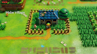 Outside of Marin's and Tarin's house in the remake of Link's Awakening, at the start of the game