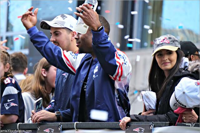 James White en el Desfile de los Patriots por la Celebración de la Super Bowl LIII