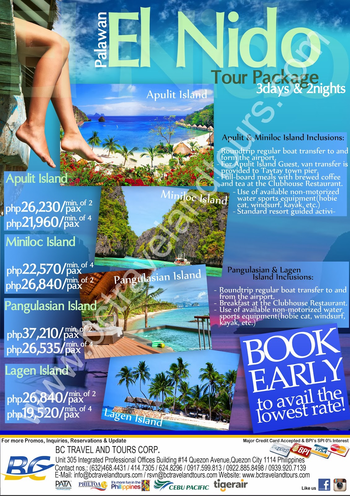 Great Travel Deals  EL NIDO RESORT TOUR PACKAGE