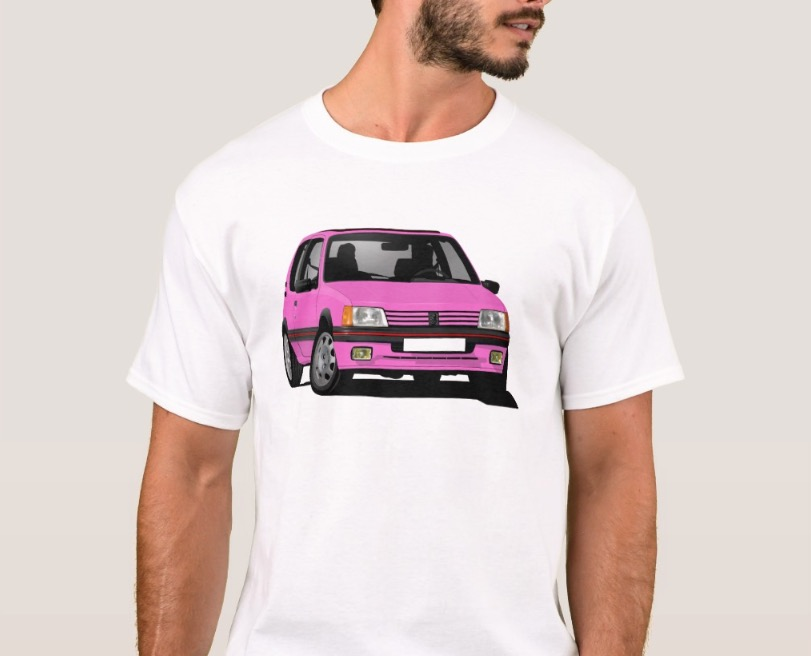 Pink and fab Peugeot 205 GTi illustration on t-shirt