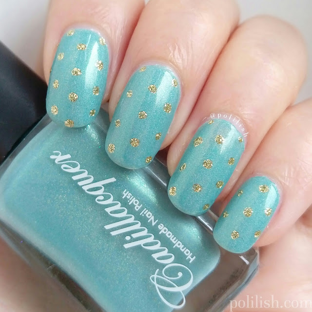 Polka dot nail design featuring Cadillacquer 'Nothing Burns Like the Cold', by polilish