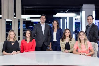 Laura Ferreira, Kalinka Schutel, Luiz Megale, Julia Duailibi, Flavia Guerra, Joana Treptow e Mauro Soares (Crédito: Divulgação/Band)